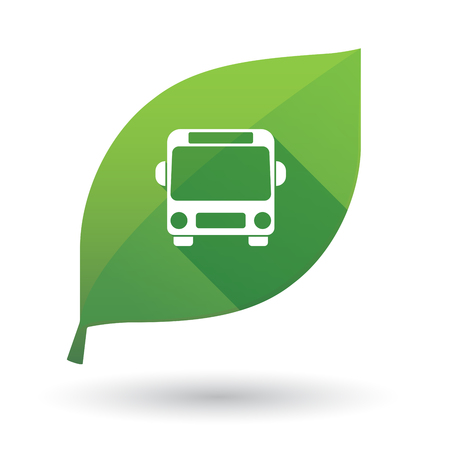 Illustration of an isolated long shadow green leaf sign with  a bus icon Çizim