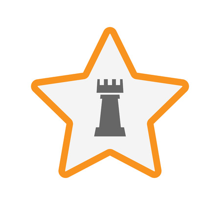 Illustration of an isolated line art star with a  rook   chess figure Illustration