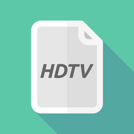 hdtv: Illustration of a long shadow document with    the text HDTV Illustration