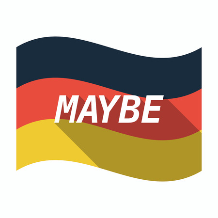 maybe: Illustration of an isolated long shadow Germany waving flag with    the text MAYBE