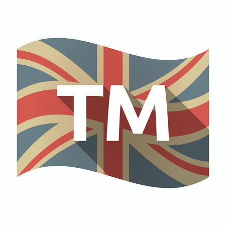 Illustration of an isolated long shadow United Kingdom waving flag with    the text TM
