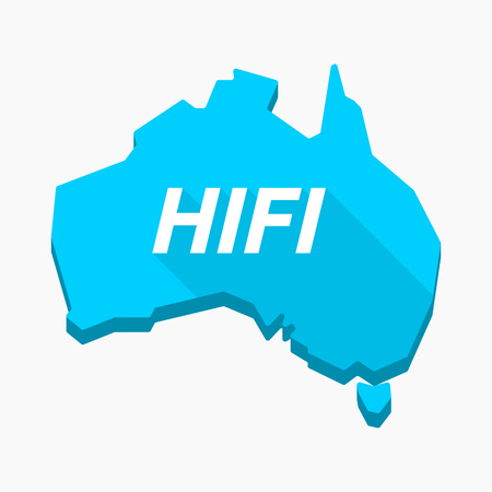 Illustration of an isolated long shadow Australia map with    the text HIFI
