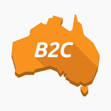 Illustration of an isolated long shadow Australia map with    the text B2C Illustration