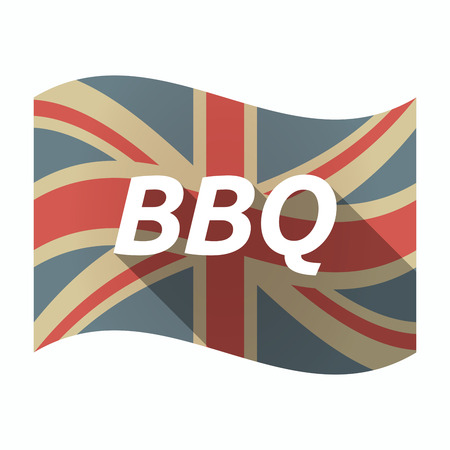 Illustration of an isolated long shadow United Kingdom waving flag with    the text BBQ