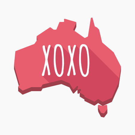 Illustration of an isolated long shadow Australia map with    the text XOXO