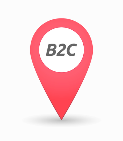b2c: Illustration of an isolated map mark with    the text B2C Illustration