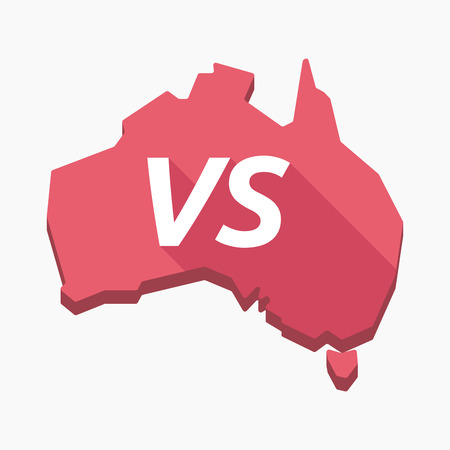 Illustration of an isolated long shadow Australia map with    the text VS