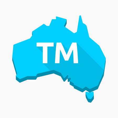 Illustration of an isolated long shadow Australia map with    the text TM