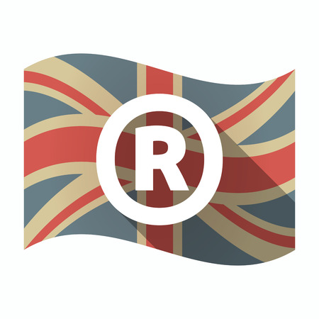 Illustration of an isolated long shadow United Kingdom waving flag with    the registered trademark symbol