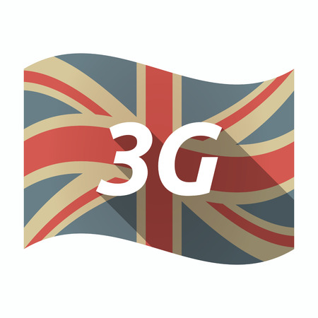 3g: Illustration of an isolated long shadow United Kingdom waving flag with    the text 3G