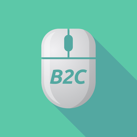 b2c: Illustration of a long shadow wireless computer mouse with    the text B2C