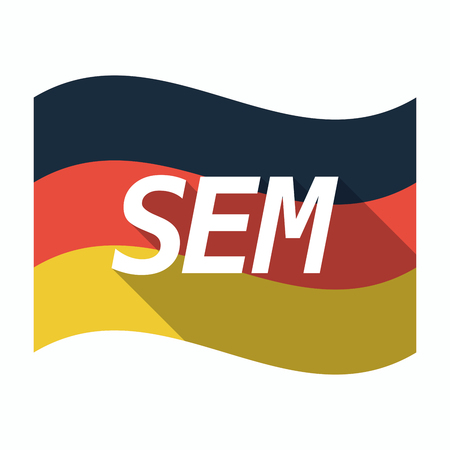 sem: Illustration of an isolated long shadow Germany waving flag with    the text SEM
