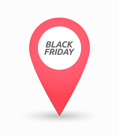 retail place: Illustration of an isolated map mark with    the text BLACK FRIDAY