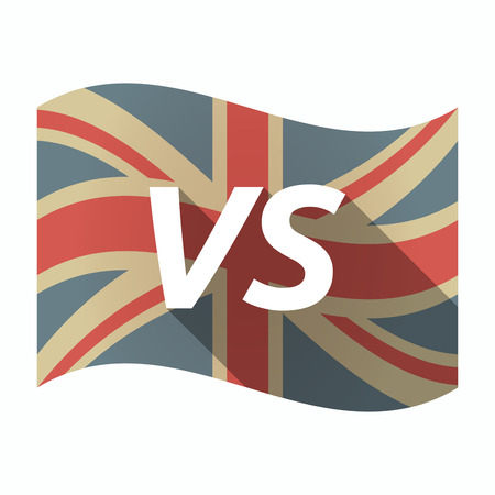 Illustration of an isolated long shadow United Kingdom waving flag with    the text VS Illustration