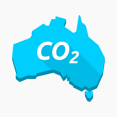 Illustration of an isolated long shadow Australia map with    the text CO2 Illustration