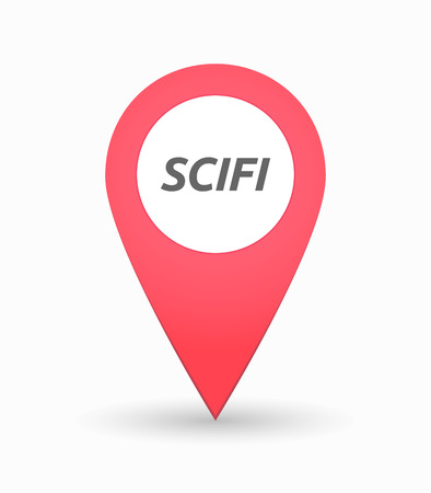 speculative: Illustration of an isolated map mark with    the text SCIFI