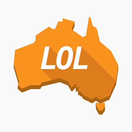 Illustration of an isolated long shadow Australia map with    the text LOL
