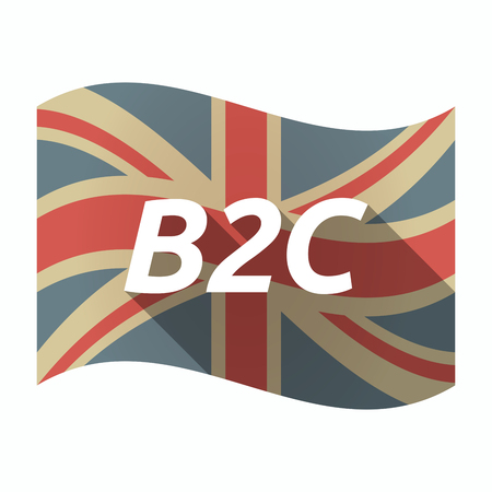 Illustration of an isolated long shadow United Kingdom waving flag with    the text B2C Illustration