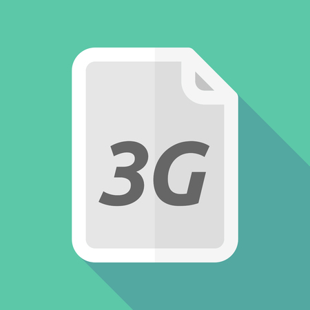 3g: Illustration of a long shadow document with    the text 3G
