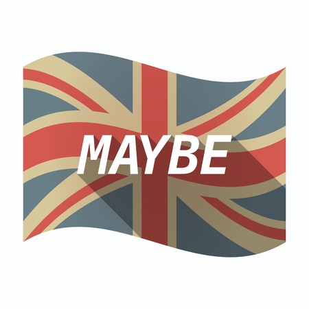 maybe: Illustration of an isolated long shadow United Kingdom waving flag with    the text MAYBE
