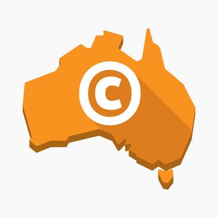 Illustration of an isolated long shadow Australia map with    the  copyright sign