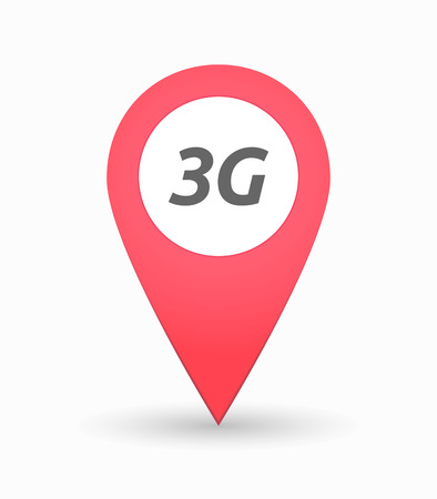 3g: Illustration of an isolated map mark with    the text 3G Illustration