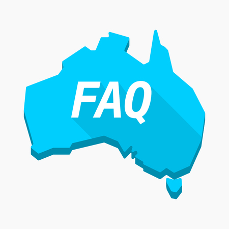 Illustration of an isolated long shadow Australia map with    the text FAQ