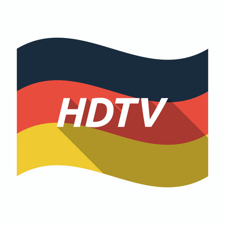 hdtv: Illustration of an isolated long shadow Germany waving flag with    the text HDTV Illustration
