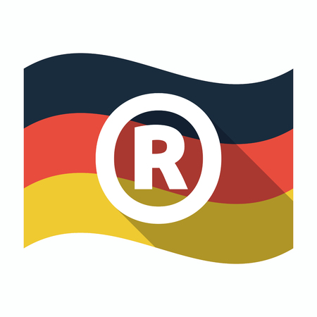 Illustration of an isolated long shadow Germany waving flag with    the registered trademark symbol