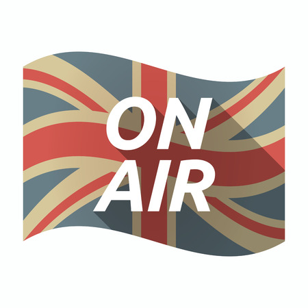 Illustration of an isolated long shadow United Kingdom waving flag with    the text ON AIR Illustration