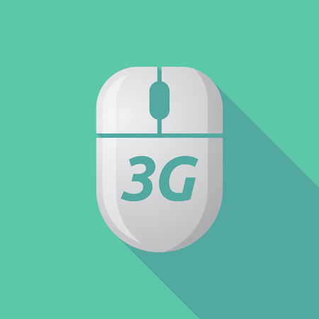 3g: Illustration of a long shadow wireless computer mouse with    the text 3G
