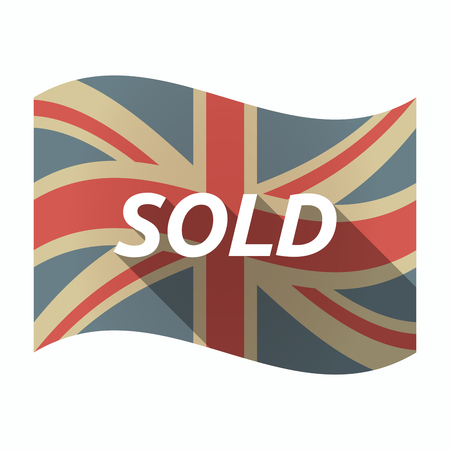 Illustration of an isolated long shadow United Kingdom waving flag with    the text SOLD