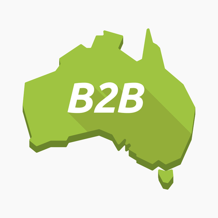 b2b: Illustration of an isolated long shadow Australia map with    the text B2B