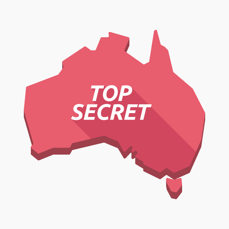 Illustration of an isolated long shadow Australia map with    the text TOP SECRET Illustration