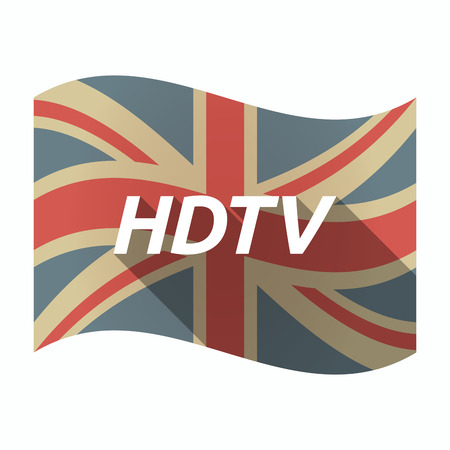 hdtv: Illustration of an isolated long shadow United Kingdom waving flag with    the text HDTV