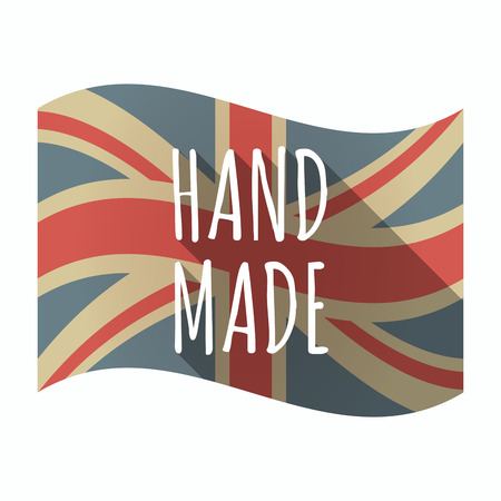 Illustration of an isolated long shadow United Kingdom waving flag with    the text HAND MADE
