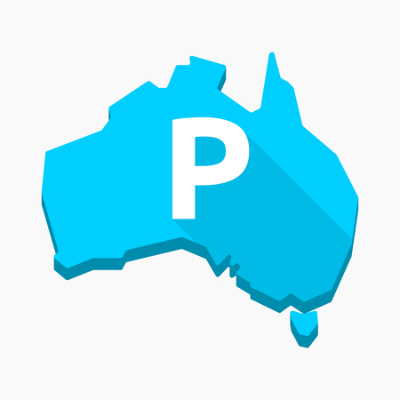 Illustration of an isolated long shadow Australia map with    the letter P Illustration
