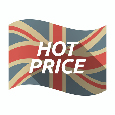 Illustration of an isolated long shadow United Kingdom waving flag with    the text HOT PRICE