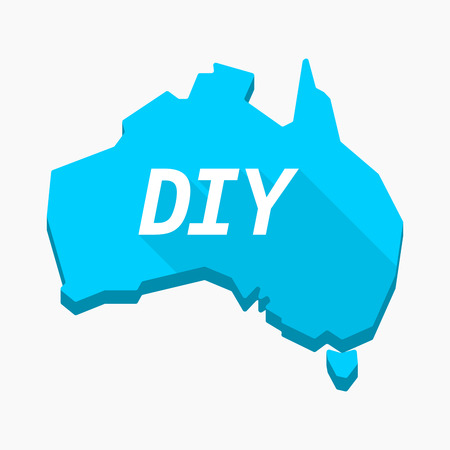 Illustration of an isolated long shadow Australia map with    the text DIY Illustration