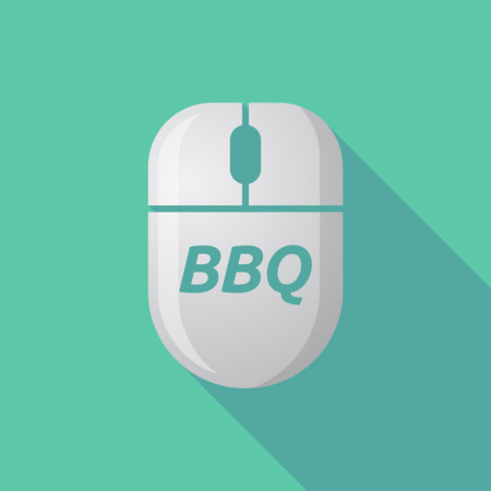 Illustration of a long shadow wireless computer mouse with    the text BBQ