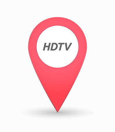 hdtv: Illustration of an isolated map mark with    the text HDTV Illustration