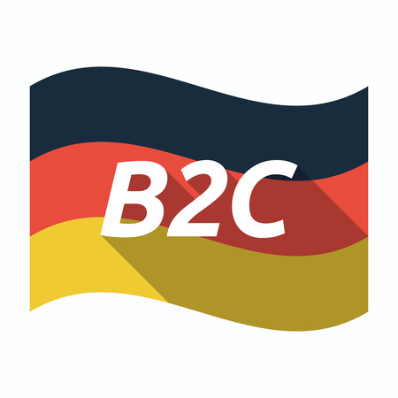 Illustration of an isolated long shadow Germany waving flag with    the text B2C
