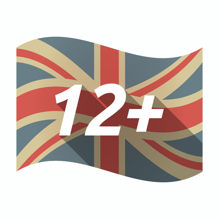 12: Illustration of an isolated long shadow United Kingdom waving flag with    the text 12+