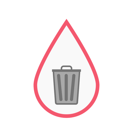 Illustration of an isolated line art blood drop with a trash can Illustration