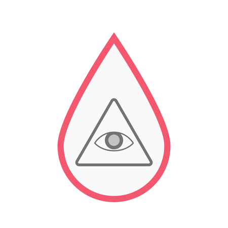 Illustration of an isolated line art blood drop with an all seeing eye