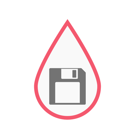 Illustration of an isolated line art blood drop with a floppy disk Illustration