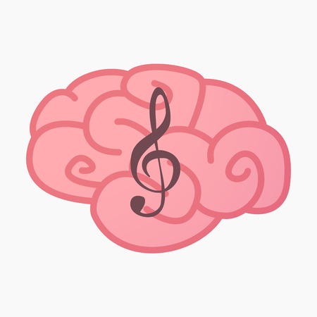 g clef: Illustration of an isolated brain with a g clef Illustration