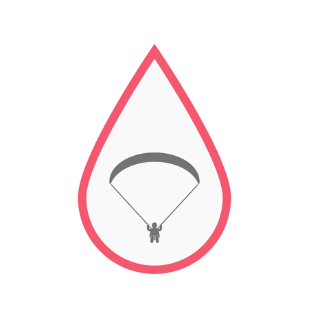 Illustration of an isolated line art blood drop with a paraglider
