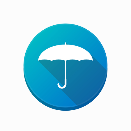 Illustration of an isolated rounded button with an umbrella Illustration