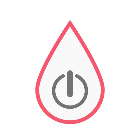 drop off: Illustration of an isolated line art blood drop with an off button Illustration
